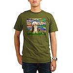 Lilies / Bearded Collie Organic Men's T-Shirt (dar