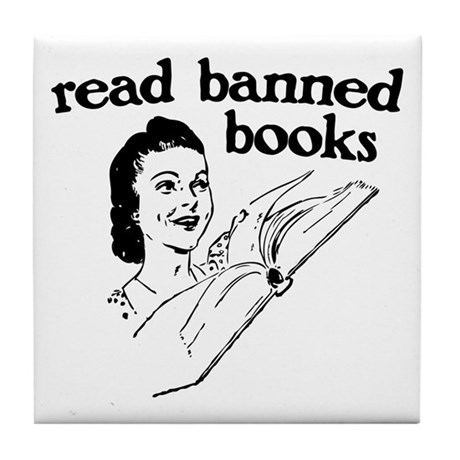 Read Banned Books Tile Coaster