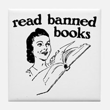 Read Banned Books Tile Coaster