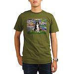 Lilies & Border Collie Organic Men's T-Shirt (dark