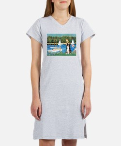 Sailboats & Border Collie Women's Nightshirt