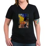 Cafe & Boston Terrie Women's V-Neck Dark T-Shirt