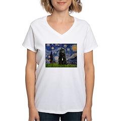 Starry Night Bouvier Women's V-Neck T-Shirt