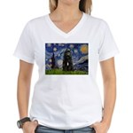 Starry Night Bouvier Women's V-Neck T-Shirt
