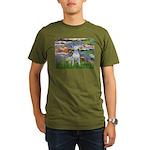 Lilies2-Bull Terrier Organic Men's T-Shirt (dark)