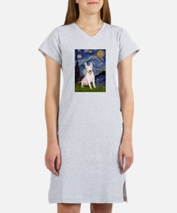 Starry/Bull Terrier (#4) Women's Nightshirt