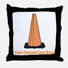 Traffic Cone and Your Text. Throw Pillow
