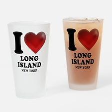 I Heart Long Island Drinking Glass