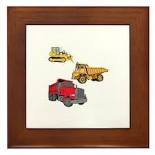 Construction Site Vehicles. Framed Tile