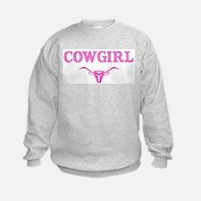 cowgirl w/ steer (pink) Sweatshirt