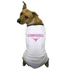 cowgirl w/ steer (pink) Dog T-Shirt