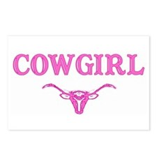cowgirl w/ steer (pink) Postcards (Package of 8)