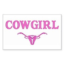 cowgirl w/ steer (pink) Rectangle Decal