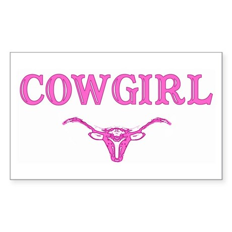 cowgirl w/ steer (pink) Rectangle Sticker