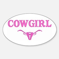 cowgirl w/ steer (pink) Oval Decal