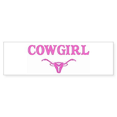 cowgirl w/ steer (pink) Bumper Sticker