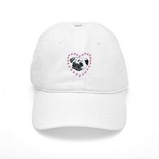 Hearts & Pug Baseball Cap