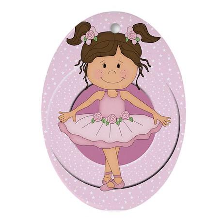 cute pink Ballerina Ballet Ornament (Oval)