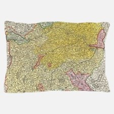 Vintage Map of Bavaria Germany (1728) Pillow Case