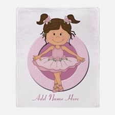 cute pink Ballerina Ballet Throw Blanket