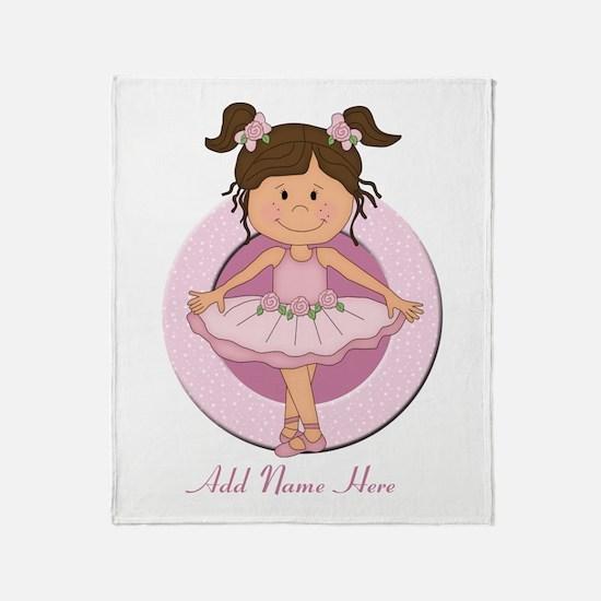 cute pink Ballerina Ballet Throw Blanket