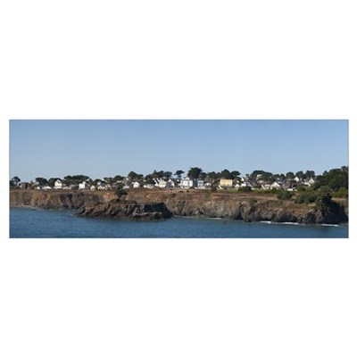 Buildings at the waterfront Mendocino California Poster