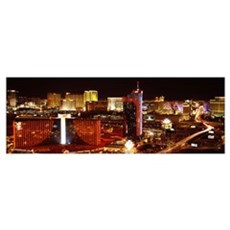 City lit up at night Las Vegas Nevada Poster