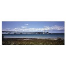 Bridge across a lake Mackinac Bridge Lake Michigan Poster