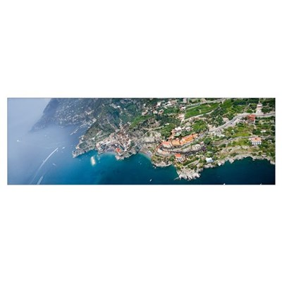 Aerial view of a town Atrani Amalfi Coast Salerno Poster