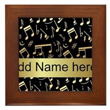 designer gold Musical notes Framed Tile