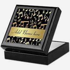 designer gold Musical notes Keepsake Box