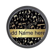 designer gold Musical notes Wall Clock