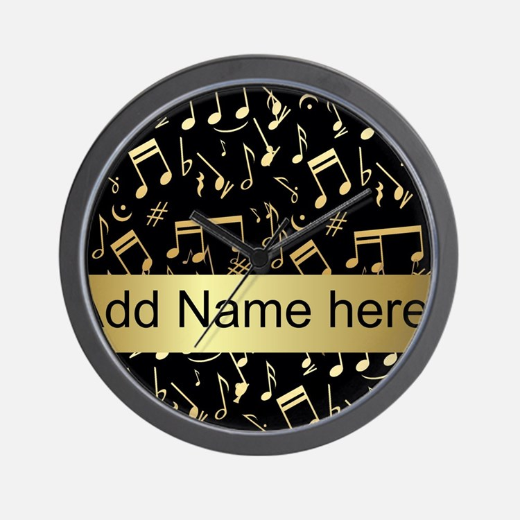 designer gold Musical notes Wall Clock