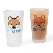 Shiba Inu Face Drinking Glass