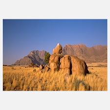 Rock formations in a desert Brandberg Mountains Da
