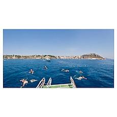 Tourists swimming in the sea Procida Marina Corric Poster