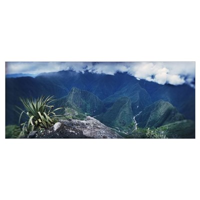 High angle view of mountains Machu Picchu Cusco Re Poster