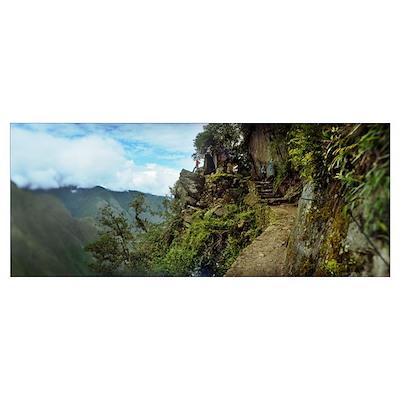 Inca Trail at the mountainside Machu Picchu Cusco Poster