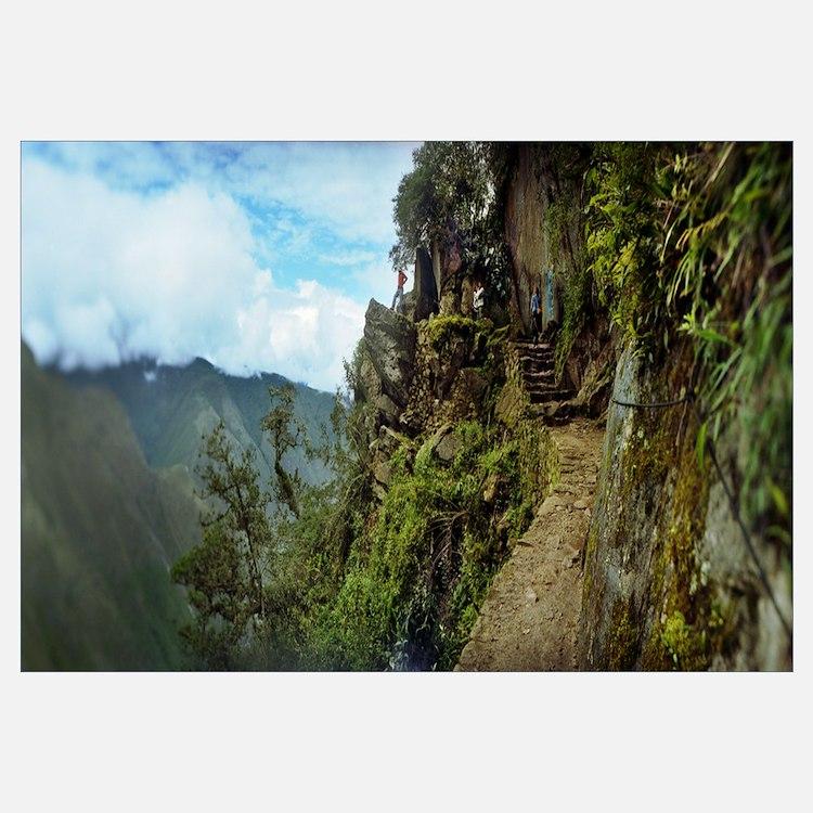 Inca Trail at the mountainside Machu Picchu Cusco
