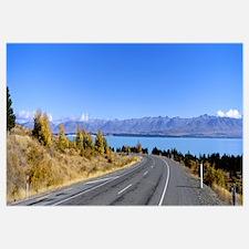 Road at the lakeside Lake Pukaki South Island New