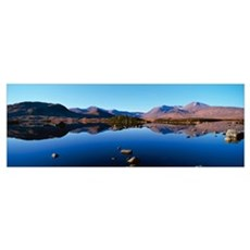 Reflection of mountains in a lake Loch Rannoch Bla Poster