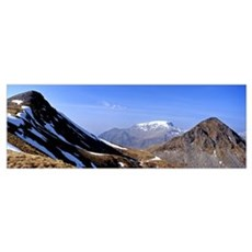 Snow covered mountain range An Garbhanach Mamores  Poster