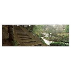 Steps at a reservoir Cod Beck Reservoir Osmotherle Poster