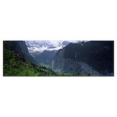 Waterfalls in a forest Lauterbrunnen Valley Wengen Poster