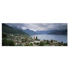 City at the lakeside Lake Lucerne Weggis Lucerne C Poster