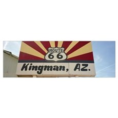 Low angle view of a road sign Route 66 Kingman Moh Poster