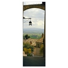 Umbrian countryside viewed through an alleyway, As Poster