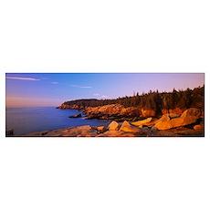Rocks on the coast, Acadia National Park, Maine, N Poster