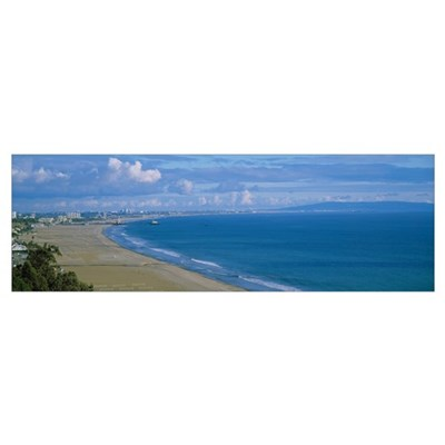 High angle view of the beach, Santa Monica, Califo Poster
