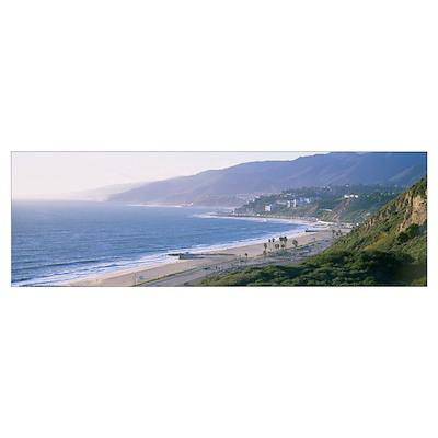 High angle view of the beach, Malibu, Pacific Pali Poster